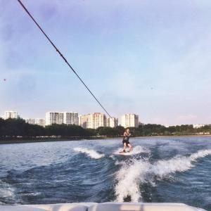 Luke Ong '18 wake boarding at Bedok Reservoir.