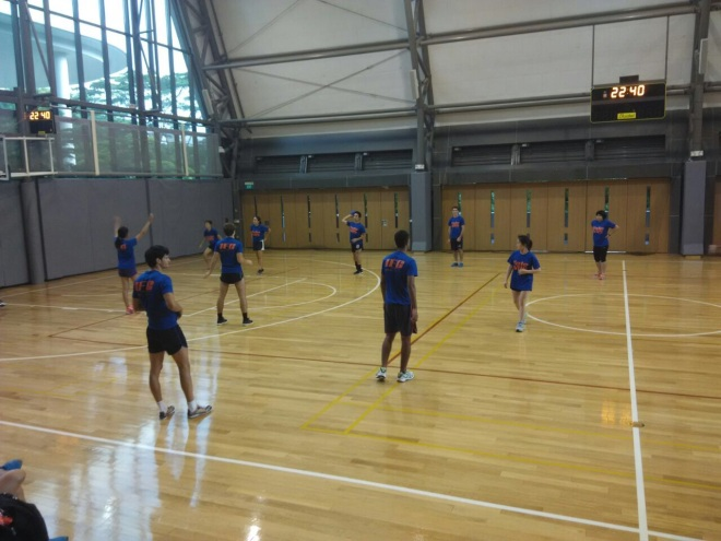 The Yale-NUS dodgeball team celebrates their success in the IFG.
