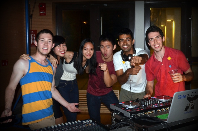 Frosh Mixer organiser Nicholas Carverhill '17 (far left) with other students at the event