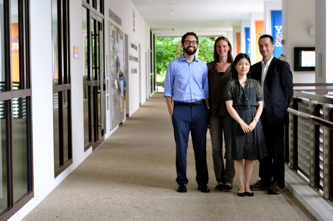 Left to right: Dr. Jason Carl Rosenberg, Heidi Stalla, Professor Mark Joyce and Dr. Nozomi Naoi (front)
