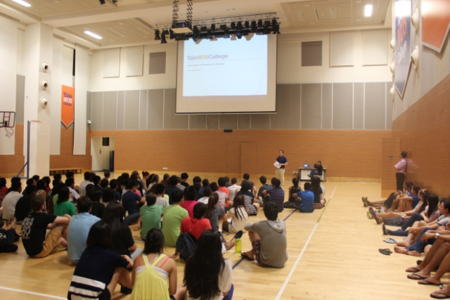 President Lewis addressing students at the Town Hall