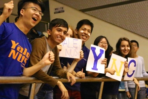 Yale-NUS students cheer on the team in Shanghai.